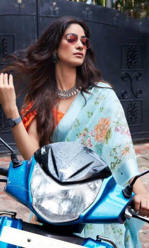Sky blue linen Silk Saree With Flower Design
