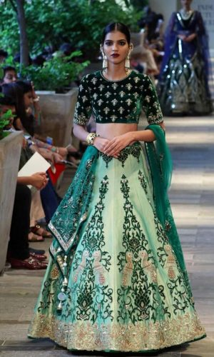 Aqua Bottle Green Thread Work Lehenga Choli