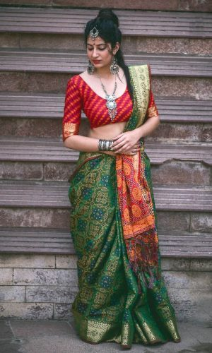 Green Woven Saree with Patola Print