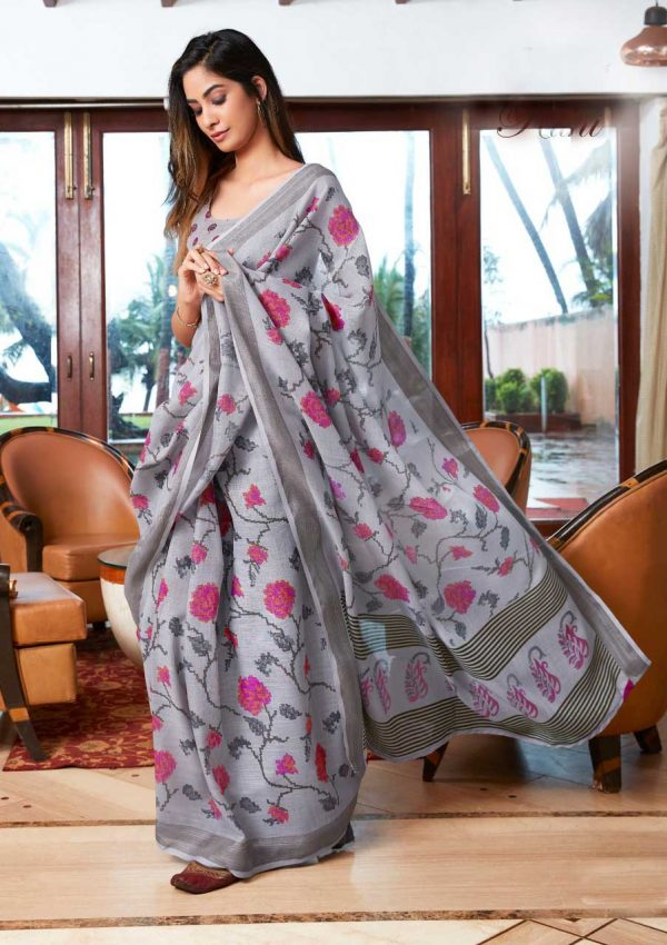 Pink Flower Linen Silk Saree With Printed Blouse