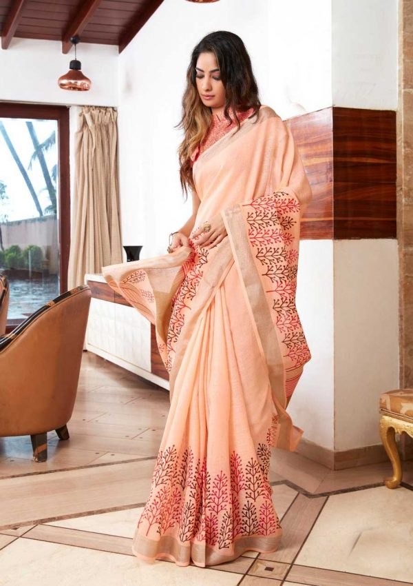 Light Red Linen Silk Saree With Printed Blouse