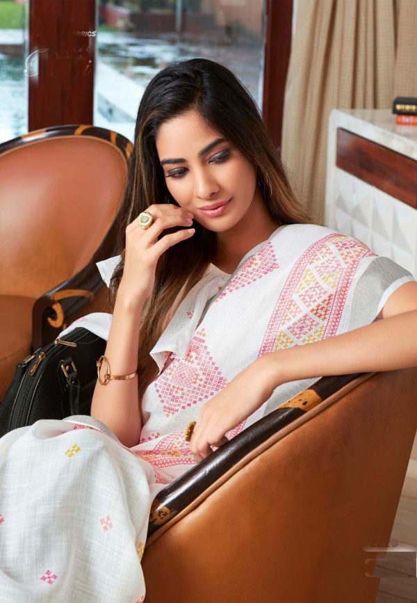 White Linen Silk Saree With Printed Blouse