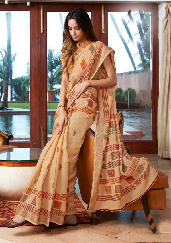 Yellow Linen Silk Saree With Printed Blouse