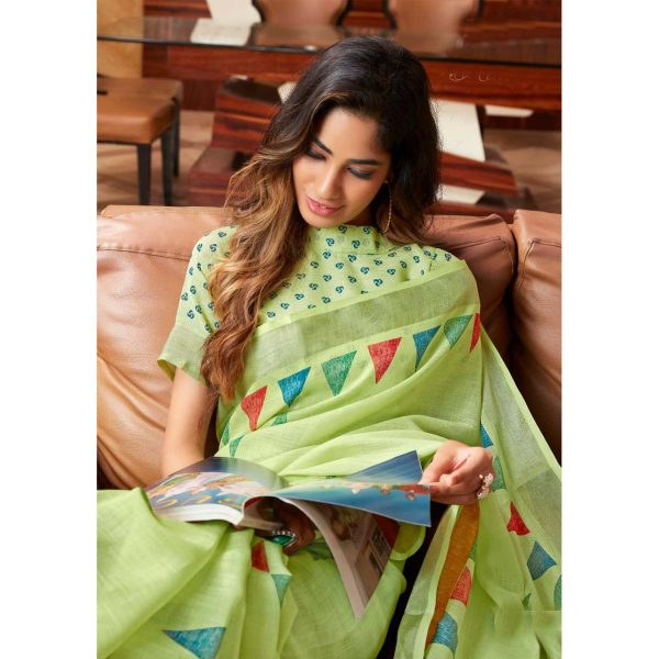 Green Linen Silk Saree With Printed Blouse
