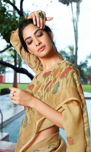 Dark Yellow Linen Silk Saree With Printed Blouse