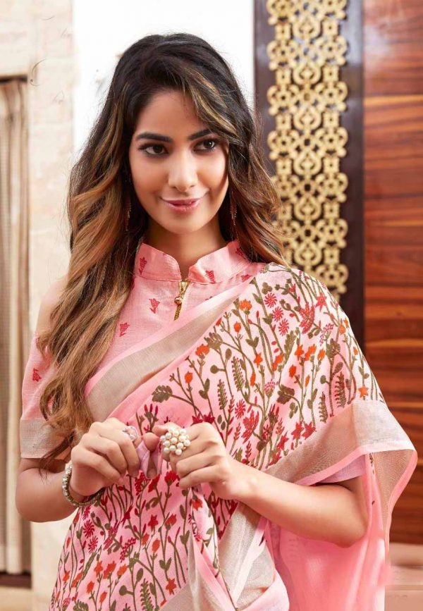 Pink Red Linen Silk Saree With Printed Blouse