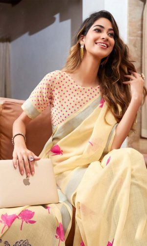 Light Yellow Linen Silk Saree With Printed Blouse
