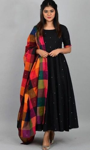 Black Reyon Full-Stiched Long Gown Kurti With Dupatta