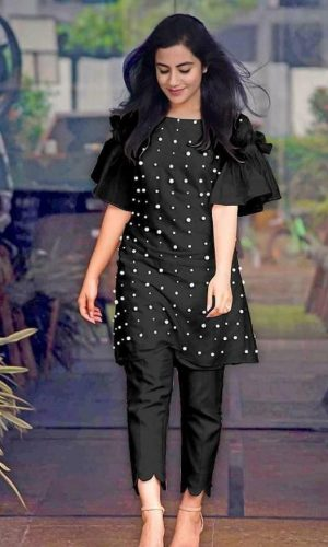 Black Chanderi Cotton Designer Dress