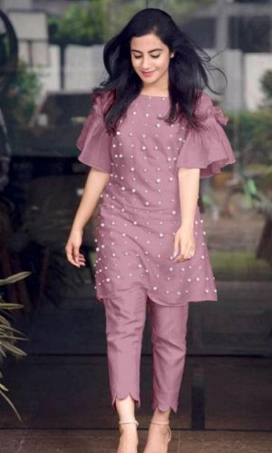 Purple Chanderi Cotton Designer Dress