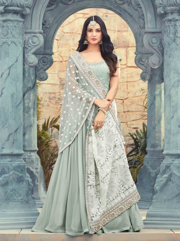 Gray Color Embroidery Georgette Anarkali Suit