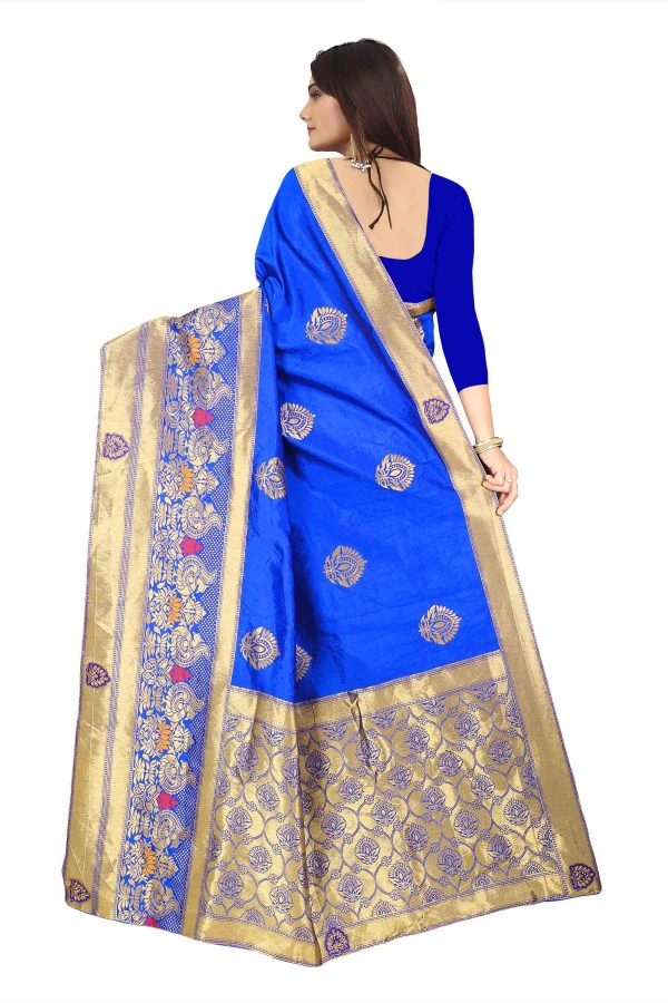 Bright Heavy Cotton Jacquard Blue Saree