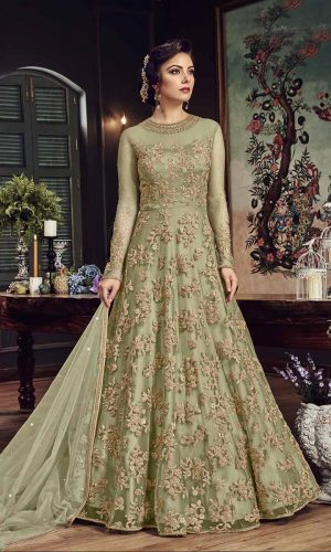 Green Nylon Net Anarkali Salwar Suit