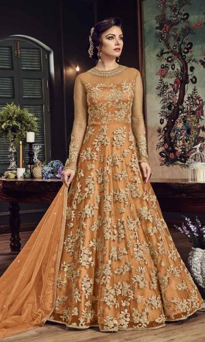 Net Anarkali Salwar Suit With Orange Color