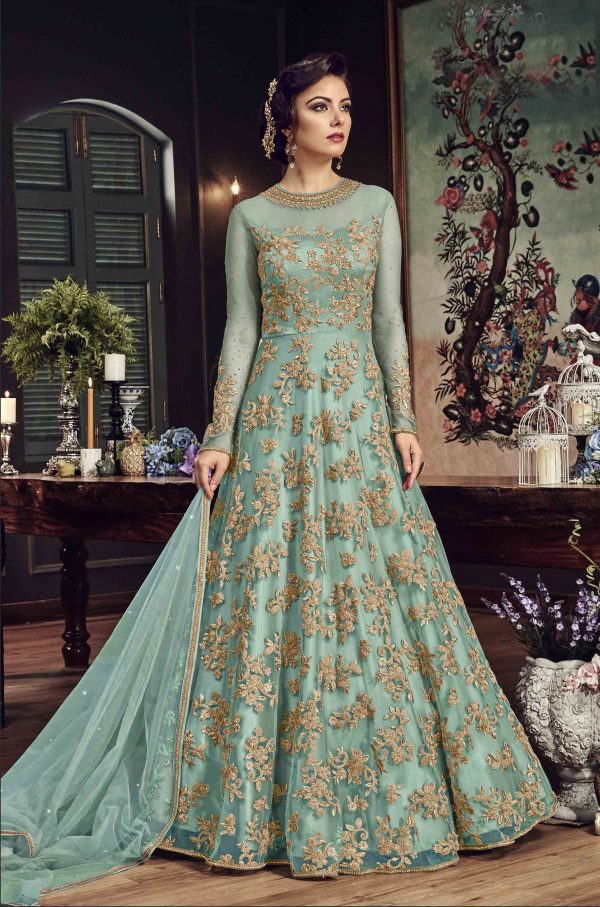 Sky Blue Nylon Net Anarkali Salwar Suit