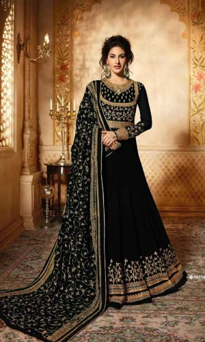 Black Color Embroidered Anarkali Suit
