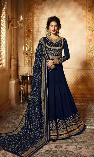 Embroidered Blue Color Anarkali Suit