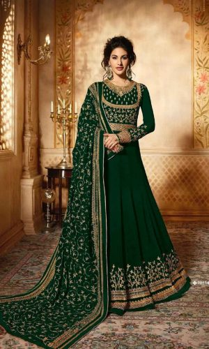 Embroidered Anarkali Green Color Suit