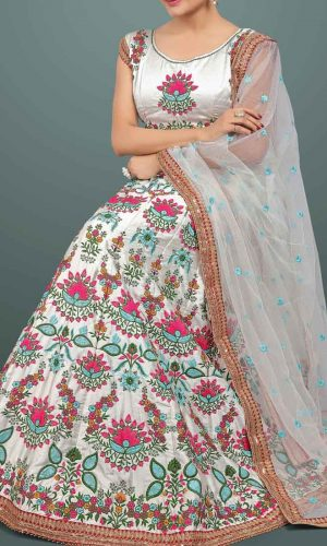 Traditional White Heavy Silk Embroidered Lehenga