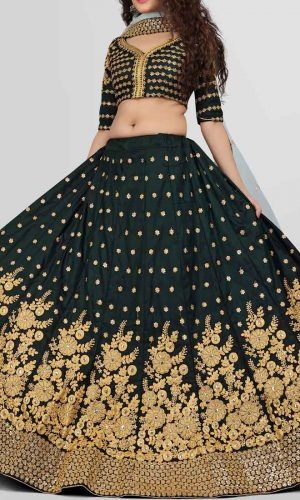 Partywear Green Thread Worked Lehenga Choli