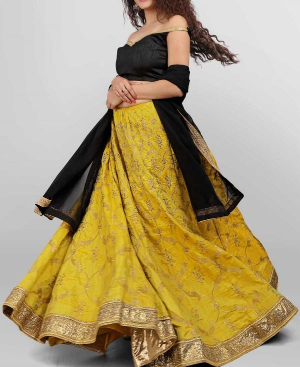 Sana Silk Yellow Colored Embroidered Lehenga Choli