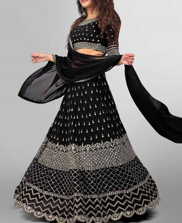 Georgette Sequence Embroidered Black Lehenga Choli