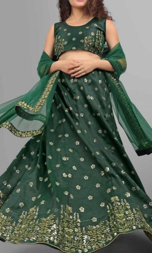 Green Phantom Silk Sequence Worked Lehenga Choli