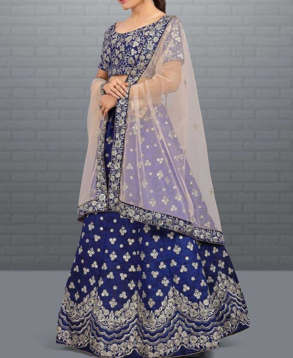 Blue Lehenga Beautify With Silver Embroidery