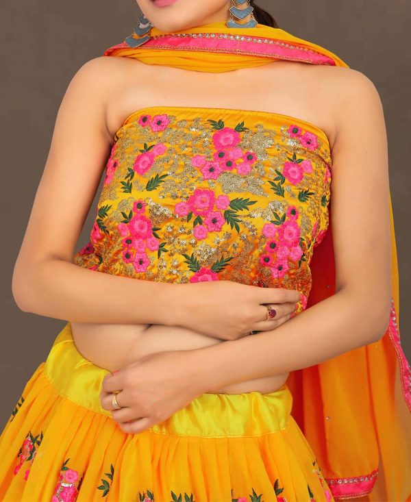 Wedding Wear Floral Embroidered Yellow Lehenga Choli