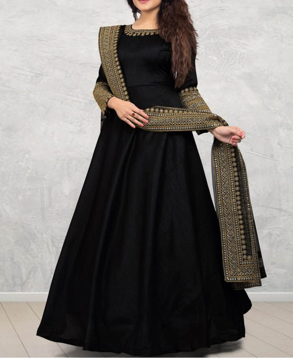 Black Banglori Silk Embroidered Gown