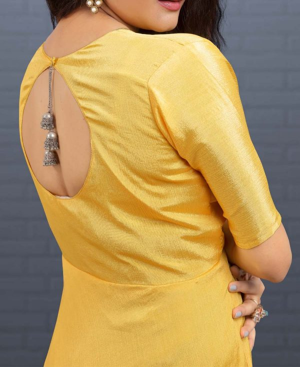 Party Wear Yellow Embroidered Gown