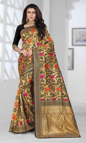 Floral Design Black Zari Weaving Saree