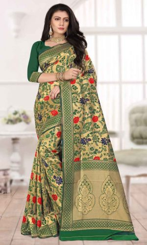 Floral Design Green Zari Weaving Saree