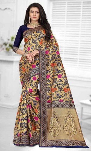 Floral Design Navy Blue Zari Weaving Saree
