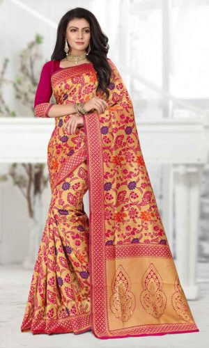 Floral Design Pink Zari Weaving Saree
