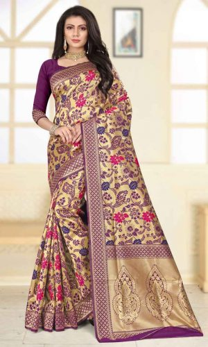 Floral Design Purple Zari Weaving Saree