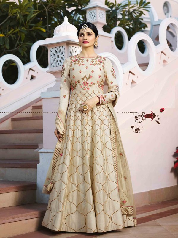 Gorgeous Beige Colored Embroidered Anarkali suit