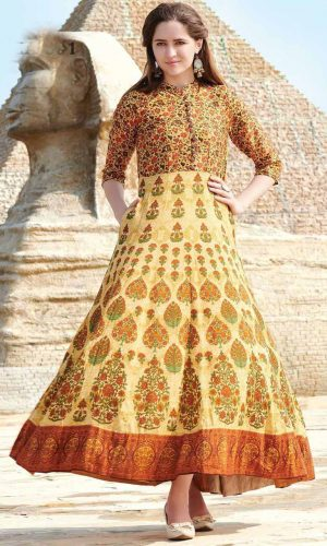 Dark Yellow Colored Muslin Cotton Gown