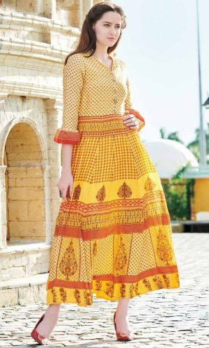 Classic Yellow Digital Printed Gown This is Yellow Colour Printed Half Sleeve Flare Gown which made from Muslin Cotton fabric With Santoon Silk Inner.