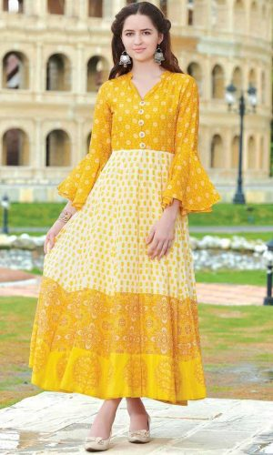 Muslin Yellow And White Pretty Gown