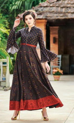 Coffee Colored Muslin Cotton Printed Gown