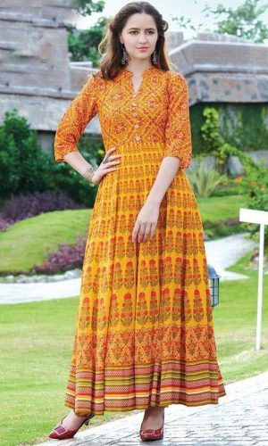 Orange Yellow Colored Western Gown